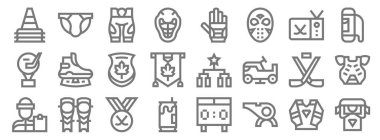 Hockey line icons. linear set. quality vector line set such as supporter, whistle, beer can, coach, hockey sticks, maple, bag, ice hockey, jockstrap icon