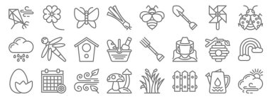 Spring line icons. linear set. quality vector line set such as cloudy, fence, mushroom, egg, beehive, bird house, bug, bee, flowers icon
