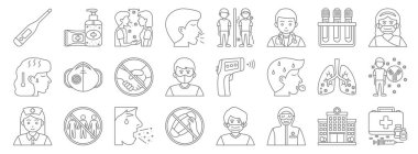 Coronavirus covid line icons. linear set. quality vector line set such as vaccines, protective wear, mask, nurse, pneumonia, no touch, medical mask, quarantine, antibacterial gel icon