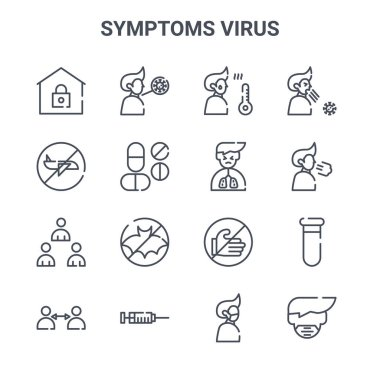 Set of 16 symptoms virus concept vector line icons. 64x64 thin stroke icons such as sore throat, travel, breath, dont touch, vaccination, mask, pain, sick, cough icon