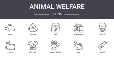Animal welfare concept line icons set. contains icons usable for web, logo, ui/ux such as poultry, almond milk, pillow, animal testing, mice, makeup, wildlife, food icon