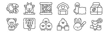 12 set of linear animal welfare icons. thin outline icons such as bat, animal care, gmo, pillow, monkey, goat for web, mobile icon