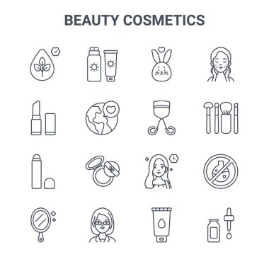 Set of 16 beauty cosmetics concept vector line icons. 64x64 thin stroke icons such as sunscreen, lipstick, makeup brushes, beauty, doctor, skincare, facial foam, eyelash curler, skincare icon