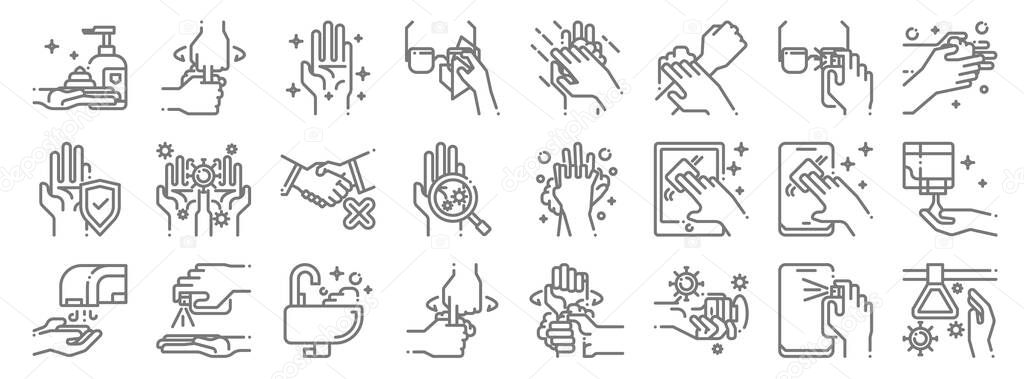 Wash hands icon pack line icons icon