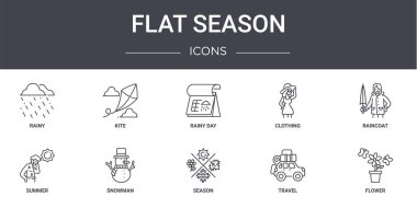 Flat season concept line icons set. contains icons usable for web, logo, ui/ux such as kite, clothing, summer, season, travel, flower, raincoat, rainy day icon