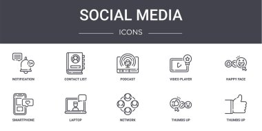 Social media concept line icons set. contains icons usable for web, logo, ui/ux such as contact list, video player, smartphone, network, thumbs up, thumbs up, happy face, podcast icon