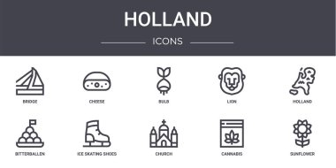 Holland concept line icons set. contains icons usable for web, logo, ui/ux such as cheese, lion, bitterballen, church, cannabis, sunflower, holland, bulb icon