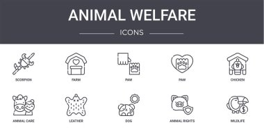 Animal welfare concept line icons set. contains icons usable for web, logo, ui/ux such as farm, paw, animal care, dog, animal rights, wildlife, chicken, paw icon