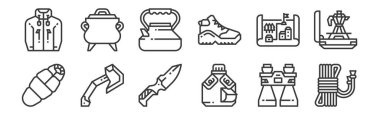 12 set of linear camping icons. thin outline icons such as rope, water bottle, axe, map, kettle, pot for web, mobile icon