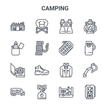 Set of 16 camping concept vector line icons. 64x64 thin stroke icons such as folding, lighter, flask, jacket, camping gas, gps, map, power bank, oil lamp icon