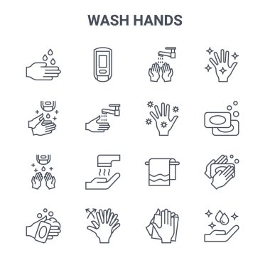 Set of 16 wash hands concept vector line icons. 64x64 thin stroke icons such as hand sanitizer, hand washing, soaps, towels, washing hands, hand washing, tissue, icon