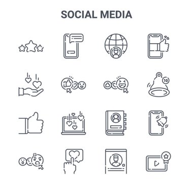 Set of 16 social media concept vector line icons. 64x64 thin stroke icons such as smartphone, love, notification, contact list, love, video player, profile, happy face, smartphone icon