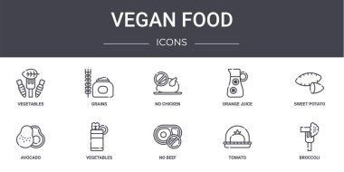 Vegan food concept line icons set. contains icons usable for web, logo, ui/ux such as grains, orange juice, avocado, no beef, tomato, broccoli, sweet potato, no chicken icon