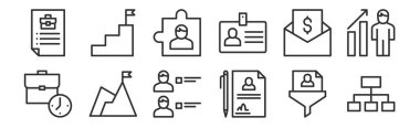 set of 12 thin outline icons such as hierarchical structure, contract, achievement, salary, puzzle, goal for web, mobile