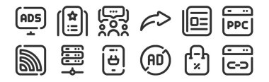 set of 12 thin outline icons such as link, ad blocker, server, news, group, premium for web, mobile