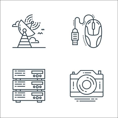 Technology devices line icons. linear set. quality vector line set such as camera, server, mouse icon