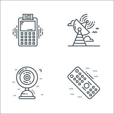 Technology devices line icons. linear set. quality vector line set such as remote control, table fan, satellite dish icon