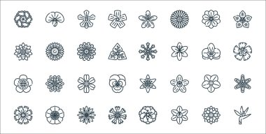 Flowers line icons. linear set. quality vector line set such as flower, flower, flower, icon