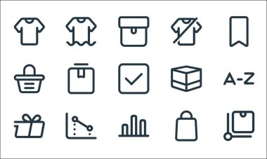 Marketplace line icons. linear set. quality vector line set such as package, finance, delivery, bag, chart, bag, box, clothes, clothes icon