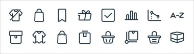 Marketplace line icons. linear set. quality vector line set such as box, package, box, package, chart, brand, cyclist, bag icon