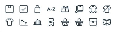 Marketplace line icons. linear set. quality vector line set such as box, bag, brand, clothes, clothes, bag, delivery, cyclist icon