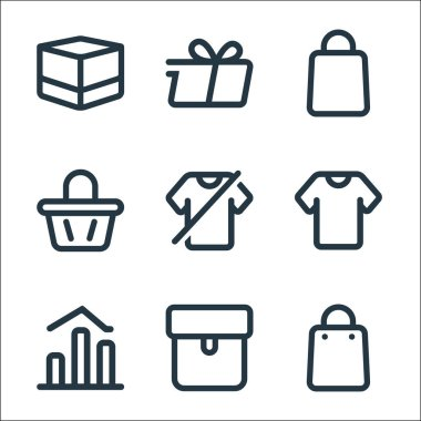 Marketplace line icons. linear set. quality vector line set such as bag, package, chart, clothes, clothes, bag, bag, delivery icon