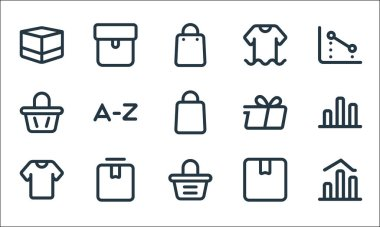 Marketplace line icons. linear set. quality vector line set such as chart, bag, clothes, box, box, bag, delivery, clothes, package icon