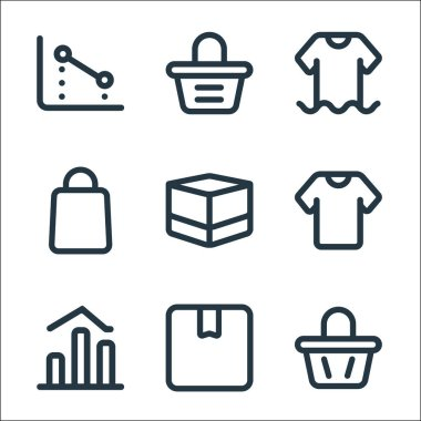 Marketplace line icons. linear set. quality vector line set such as bag, box, chart, clothes, box, bag, clothes, bag icon