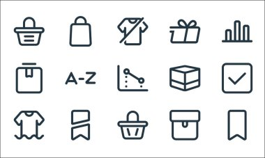 Marketplace line icons. linear set. quality vector line set such as brand, bag, clothes, package, brand, box, box, delivery, bag icon