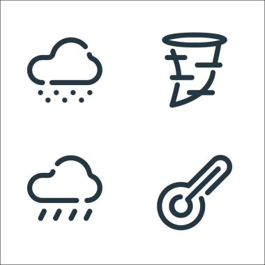 Weather line icons. linear set. quality vector line set such as thermometer, rainy, tornado icon