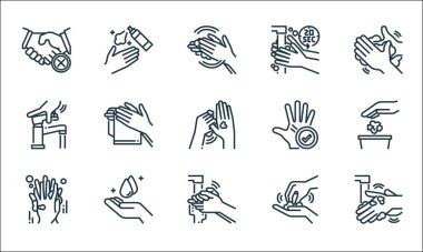 wash hands line icons. linear set. quality vector line set such as hand washing, hand washing, washing hand, water tap,
