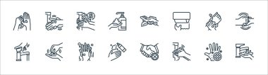 Wash hands line icons. linear set. quality vector line set such as washing hand, hand washing, washing hand, water tap, tissue, icon