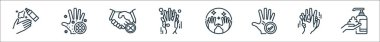 Wash hands line icons. linear set. quality vector line set such as washing hand, washing hand, hand, washing shaking hands, icon