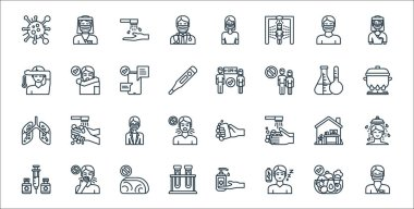 Virus transmission line icons. linear set. quality vector line set such as male nurse, tiness, lab, syringe, home, doctor, boiling, distance, cough icon
