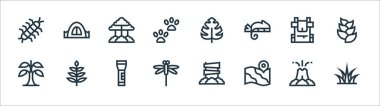 Jungle line icons. linear set. quality vector line set such as grass, map, dragonfly, banana, backpack, tree, monstera leaf, camping tent icon
