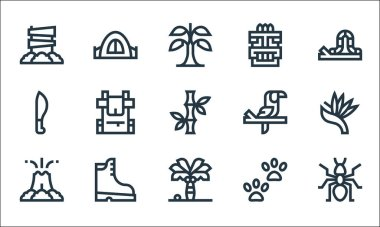 Jungle line icons. linear set. quality vector line set such as ant, palm tree, volcano, footprint, boots, machete, toucan, tiki, camping tent icon