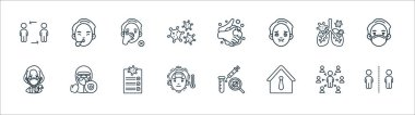 Coronavirus covid line icons. linear set. quality vector line set such as keep distance, work, fever, doctor, infected lungs, do not touch, washing hands, sneeze icon