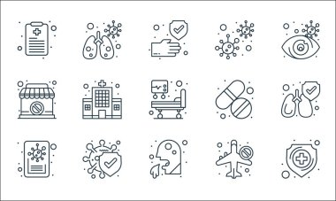 coronavirus covid line icons. linear set. quality vector line set such as shield, cough, news, no traveling, protection, closed, medicine, coronavirus, infected lungs