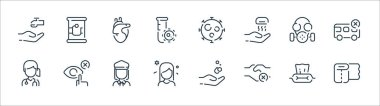 Coronavirus line icons. linear set. quality vector line set such as toilet paper, shake hands, woman, woman, gas mask, heart, virus, canned food icon