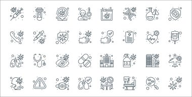 Coronavirus covid line icons. linear set. quality vector line set such as coronavirus, hospital bed, lungs, cough, coronavirus, infected, blood bag, washing hands, dropper icon