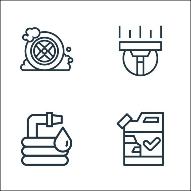 Carwash line icons. linear set. quality vector line set such as detergent, hose, cleaning icon