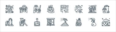 Cleaning line icons. linear set. quality vector line set such as tissue, detergent, glass cleaning, vacuum cleaner, house, wet floor, wipe, maid icon