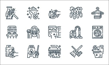 Cleaning line icons. linear set. quality vector line set such as toilet, brush, tap, broom, wet floor, hand dryer, vacuum cleaner, sponge, sanitary icon