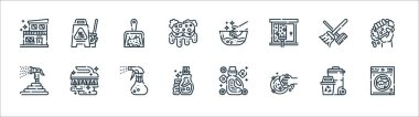 Cleaning line icons. linear set. quality vector line set such as washing machine, washing, detergent, hose, broom, dustpan, hand wash, wet floor icon