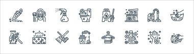 Cleaning line icons. linear set. quality vector line set such as washing, softener, trash, dusting, vacuum cleaner, spray, wet floor, maid icon