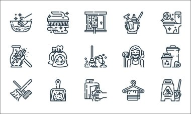 Cleaning line icons. linear set. quality vector line set such as wet floor, tap, broom, hanger, dustpan, dusting, maid, bucket, brush icon