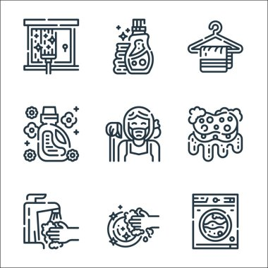 Cleaning line icons. linear set. quality vector line set such as washing machine, washing, tap, sponge, maid, softener, hanger, detergent icon
