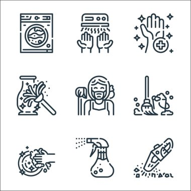 Cleaning line icons. linear set. quality vector line set such as vacuum, spray, washing, mop, maid, dusting, sanitary, hand dryer icon