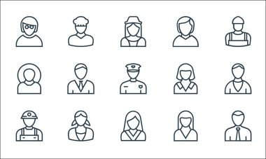 Professions line icons. linear set. quality vector line set such as manager, model, miner, nun, nanny, farmer, maid, business woman, baker icon
