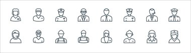 Professions line icons. linear set. quality vector line set such as nurse, firefighter, plumber, call agent, police officer, manager, postman icon